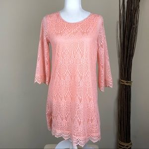 H&M DIVIDED | Scalloped Lace Crochet Dress Pink 10
